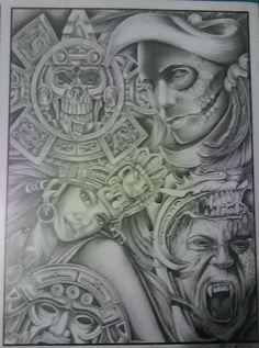 Aztec cultura Prison Drawings, Chicano Drawings, Chicano Art, Lowrider Art, Lowrider Tattoo, Og Abel Art, Sugar Skull Girl Tattoo, Aztec Drawing, Mexico Tattoo