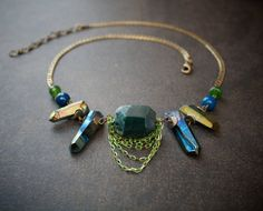 Peacock Blue Quartz Point Necklace with Moss Agate Barrel Bead and Antique Brass Curb Chain Peacock Blue, Teal, Quartz Jewelry, Green Agate, Moss Agate, Agate Beads, Antique Brass, Turquoise Bracelet, Vintage Inspired