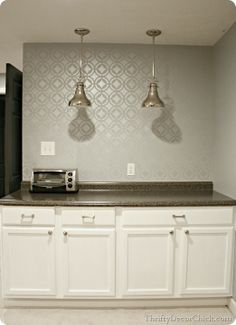 Stenciled Wall In Silver