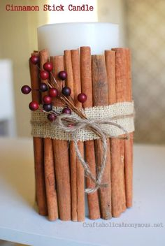 Wrapping a candle in cinnamon sticks not only makes a great holiday decoration, but also adds a cozy scent to your surroundings! Tutorial by Craftaholics Anonymous Summer Crafts, Holiday Crafts, Fun Crafts, Diy And Crafts, Holiday Decor, Holiday Ideas, Christmas Ideas, Christmas Holidays, Christmas Decorations