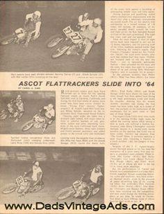1964 Vintage Motorcycle Racing Print Article: Ascot Flattrackers Slide into '64