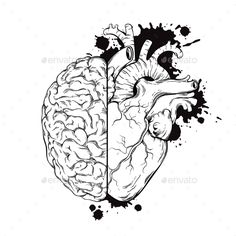 Illustration of Hand drawn line art human brain and heart halfs. Grunge sketch tattoo design isolated on white background vector illustration. Logic and emotion priority concept. vector art, clipart and stock vectors. Sketch Tattoo Design, Sketch Art, Tattoo Sketches, Sketch Design, Pop Design, Design Lab, Design Concepts, Graphic Design, Arte Com Grey's Anatomy