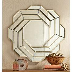 "Twist of Bands Gold 34"" x 34"" Wall Mirror"