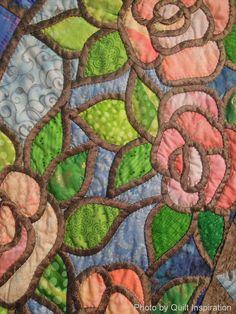 "Képtalálat a következőre: ""stained glass patchwork free patterns"" Blue Jean Quilts, Celtic Quilt, Stained Glass Quilt, Applique Quilt Patterns, Japanese Quilts, Summer Quilts, Reverse Applique, Hawaiian Quilts, Bloom"
