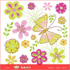 Flowers and Butterfly Clip Art. Personal and Small by BaBaPuff, $5.00