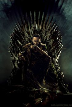 Loki on the Iron Throne and Iron Man at his feet...I love that picture