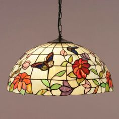 Butterfly Large Pendant Large pendant in a floral design with radiant butterflies rendered in beautiful American art glass. H: 500-1500 W: 500 D: 500 Bulbs: 3 x 60 E27 Fittings: SU02/3 Shade: TV158L