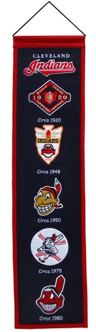 Cleveland Indians Banner 8x32 Wool Heritage