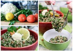 Grain Free Tabouleh INGREDIENTS  (Serves 3-4)    1 small head cauliflower  ½ cup raw almonds  1 large bunch fresh mint  1 large bunch fresh flat leaf parsley  2 green onions  3 tomatoes    1 clove garlic, minced  the juice and zest of one lemon  1 tbsp sumac  1 tbsp za'atar  1 tsp salt  ½ tsp black pepper