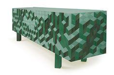 Original 3D Geometric Patterns Defining The Causeway Sideboard by Pedro Sousa