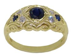 14k Yellow Gold Natural Sapphire and Diamonds Womens Band Ring 016 cttw HI Color I2I3 Clarity >>> For more information, visit image link.
