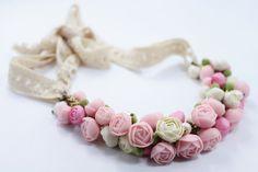 Pastel+Pink+Flower+Necklace+Wedding+Necklace+Jewelry+by+eteniren,+$57.60