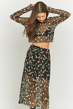 Pins & Needles Floral Embroidered Black Mesh Cropped Top - Urban Outfitters