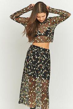 Pins & Needles Floral Embroidered Black Mesh Midi Skirt