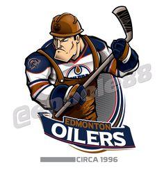 Retro Edmonton Oilers, courtesy of that great cartoonist Eric Poole. Hockey Logos, Nhl Logos, Hockey Teams, Ice Hockey, Hockey Stuff, Sports Logos, Creative Logo, Hockey Drawing, Hockey Party
