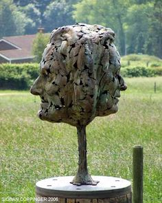 Bronze Garden Or Yard / Outside and Outdoor sculpture by artist Sioban Coppinger titled: 'English Pair (Double Faced Head Portrait statue Commission)'