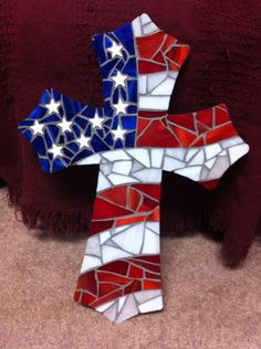 "Hand made American flag stained glass mosaic wall cross 15"". See more at Facebook.com/AmandaGlassArt"