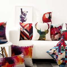 北欧幻彩几何抽象宜家彩色抱枕办公沙发靠垫汽车棉麻靠枕厚磅抱枕