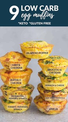 9 Low Carb & Keto Breakfast Egg Muffin Cups - the perfect healthy & easy protein packed make ahead breakfast for on the go. Best of all, convenient for busy mornings, weekend or Easter holiday brunch! Delicious & simple to customize - mix & match with any leftover vegetables or meat from fridge. Broccoli & Cheddar Cheese, Buffalo Chicken, Ham & Cheddar Cheese, Jalapeno Popper, Kimchi, Mushroom, Pepper and Spinach, Sun-Dried Tomato & Spinach, Tomato, Spinach or Kale Basil & Parmesan.
