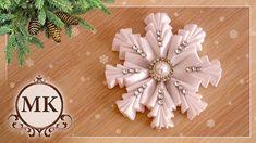 Простая снежинка из лент. МК. Канзаши. / DIY. Kanzashi. Ribbon snowflake.