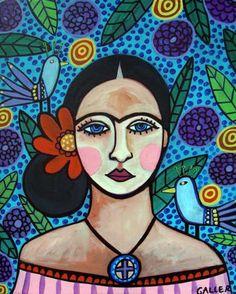 Mexican Folk Art  Frida Kahlo Art Poster of by HeatherGallerArt, $24.00