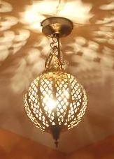 Hall light: Globe Moroccan brass ceiling lamp