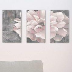 Lark Manor 'Pastel Pink Peony on Gray' 3 Piece Graphic Art Wall Plaque Set Mauve Bedroom, Pink Bedroom Decor, Pink Bedrooms, Bedroom Wall, Bedroom Ideas, Blush Pink And Grey Bedroom, Glam Bedroom, Stylish Bedroom, Bedroom Inspo