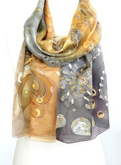 Gold Silver Scarf. Hand Painted Silk Scarf. Whimsical Scarf. Handmade Echarpe Foulard. Gift for Her. $42.00, via Etsy.