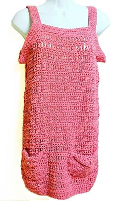 Tunic Top Pink Crochet Size Extra Small