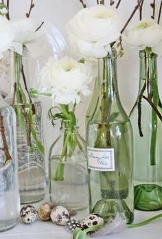 White and wine bottles