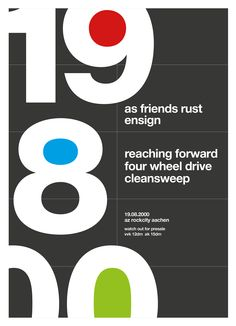 A new poster redesign in swiss / helvetica style every day. Today:  as friends rust, ensign, etc. back in 2000.