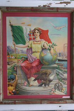 "Vintage Framed FAS ""Progress"" Print, Faux Bamboo Frame, Historical Framed Art, Colorful Framed Art of Woman and Flag Art Nouveau, Different Flags, Kingdom Of Italy, Wood Butterfly, Framed Art, Framed Prints, National Archives, Faux Bamboo, Vintage Frames"