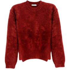 CÉLINE Jersey Lana Pelo Burdeos (€831) ❤ liked on Polyvore featuring tops, sweaters, jumpers, shirts, women, red shirt, shirt tops, jersey shirt, red sweater and red jumper
