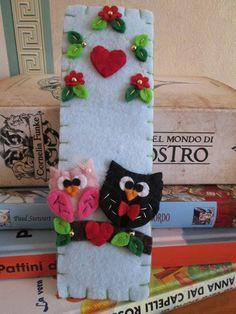 Owl bookmark - Love owls - Felt bookmark - Handmade - Segnalibro in feltro: Gufi innamorati  Parte 2 di TinyFeltHeart