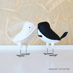 Love Birds Wedding Cake Topper Mini Love Birds, Ivory Lace and Black Birds with Veil/Bow Tie, Wedding Decorations - (Made to Order)