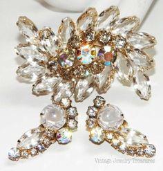Vintage JULIANA Clear & Aurora Borealis Glass Rhinestone Gold Pin Clip Earrings $89
