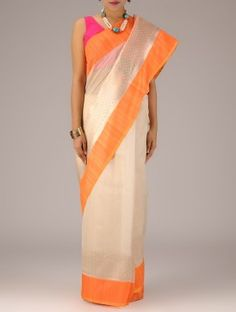 Ivory-Orange Banarasi Cotton Kadwa Booti Handwoven Saree By Ekaya