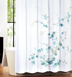 Luxury Cotton Blend Shower Curtain Printemps Aqua Turquoise Floral Branches by Tahari Home Black White Shower Curtain, Tahari Home, Luxury Curtains, Turquoise, Aqua, Bathroom Accessories, Furniture Decor, Branches, Orange Yellow