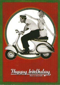 Birthday Greetings Friend, Funny Happy Birthday Wishes, Happy Birthday Cards, Happy Birthday Vintage, Birthday Love, Vespa, Hapoy Birthday, Bday Cards, Card Sentiments