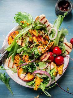 Grilled halloumi, peach and corn salad.