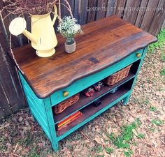 Love the dark wood color with the teal color! Would look great in my kitchen! Recycled dresser into a fun piece, painted furniture, repurposing upcycling Refurbished Furniture, Repurposed Furniture, Furniture Makeover, Teal Painted Furniture, Diy Dresser Makeover, Primitive Furniture, Chair Makeover, Furniture Projects, Diy Furniture