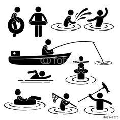 Vektor: People Children Leisure Swimming Fishing Playing River Water