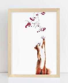 Inspiration fürs Kinderzimmer: Eichhörnchen. Dies ist das Motiv Squirrel (engl. Eichhörnchen von Janine Sommer. Mehr Ideen fürs Kinderzimmer bei @Berlinfreckles