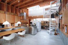 "Low-waste, pillar-free, multistory, seismically-resistant, open-plan, japanese home using architect Kiyoshi Kasai's ""Wooden Box 212"" construction method."