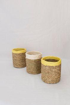 Smoke and yellow trim grass woven bottle holder Glass Holders, Bottle Holders, Potted Plants, Plant Pots, White Trim, Grass, Weaving, Harvest, Artisan