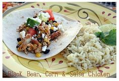 Black Bean, Corn and Chicken Tacos