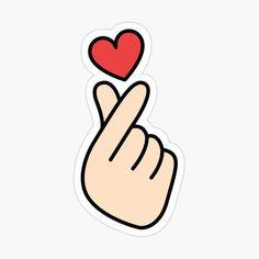 Finger Heart Korean Stickers, Anime Stickers, Cool Stickers, Printable Stickers, Laptop Stickers, Mini Drawings, Easy Drawings, Snapchat Logo, Instagram Logo