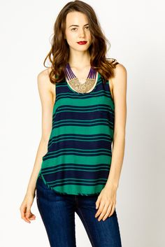 green & navy striped tank  if I lose some weight I would wear it