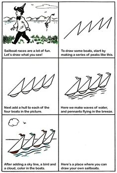 How to Draw Sailboats Kids Drawing Lesson.