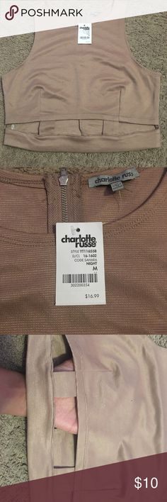 Classy crop top |Charlotte Russe| Includes zipper, sleeveless, and has cut outs on the bottom Charlotte Russe Tops Crop Tops